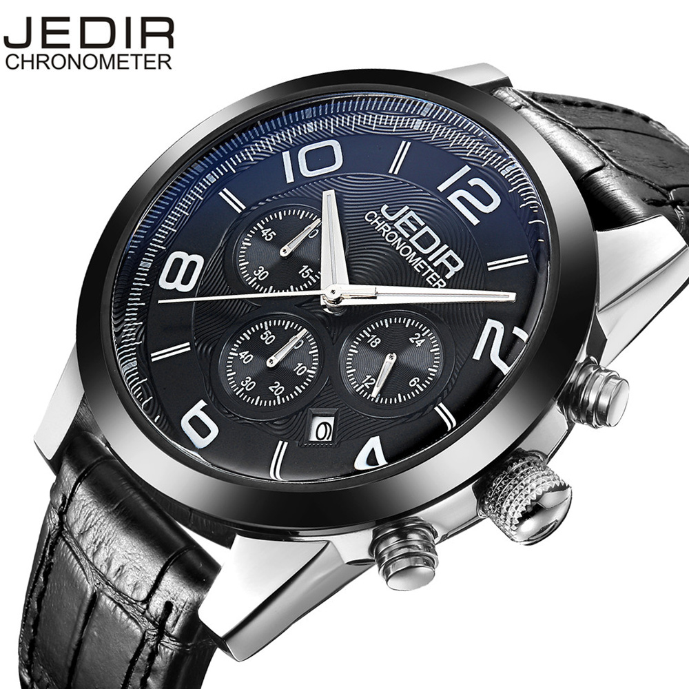 JEDIR Fashion Chronograph Sport Mens Watches Top Brand Luxury Quartz Watch Reloj Hombre 2017 Clock Male hour relogio Masculino jedir chronograph sport mens watches top brand luxury famous male clock quartz watch military leather relogio masculino gift box