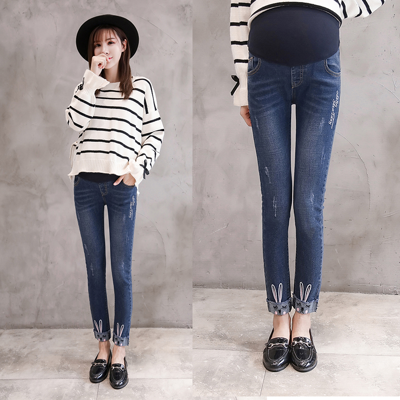 Winter Maternity Jeans Fashion Maternity Clothes Elasticity Denim Pants For Pregnant Women Pregnancy Clothing Trousers 8526 9 10 length autumn fashion maternity jeans rolled up skinny pants clothes for pregnant women pregnancy pencil trousers