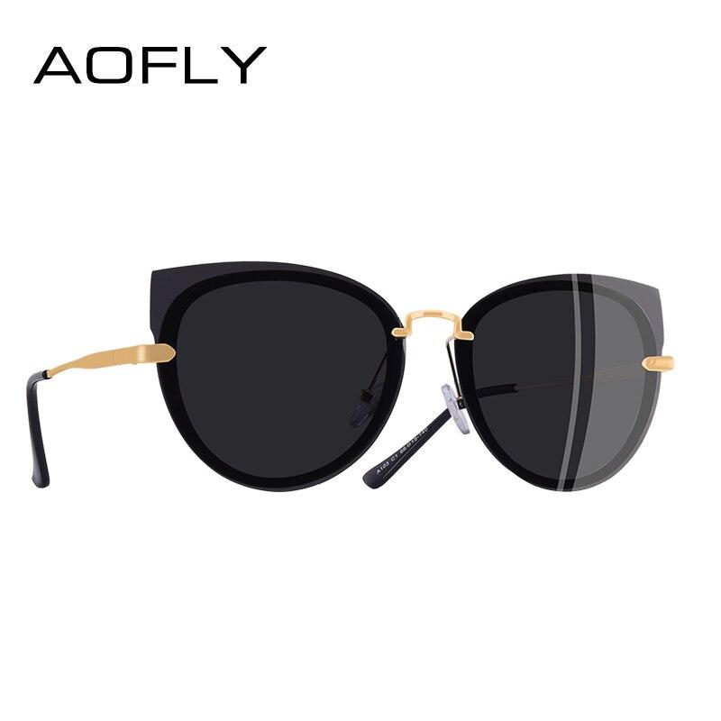 """AOFLY брендовые дизайнерские роскошные женские солнцезащитные очки поляризованные классический """"кошачий глаз"""" женский металл храм очки A103"""