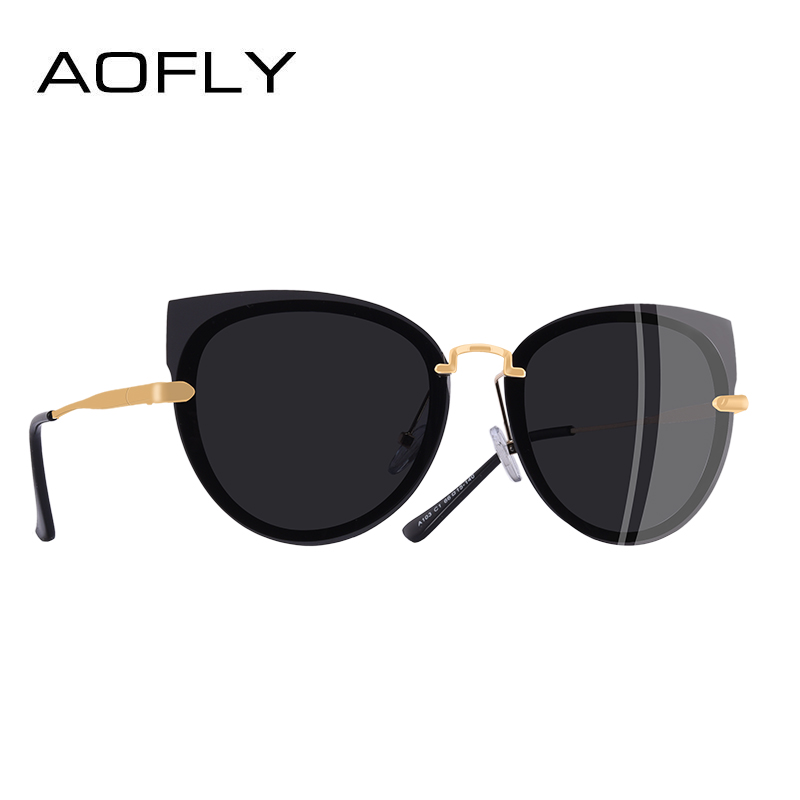 AOFLY BRAND DESIGN Luxury Woman Sunglasses Polarized Classic Cat Eye Sunglasses Female Metal Temple Eyewear A103