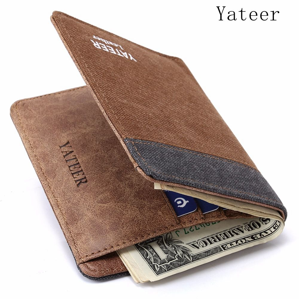 Yateer Arrive Wallet Purses Men Wallets Masculine Card Holder Famous Brand Male Mens Walet Ultra Thin Multi Function Letter