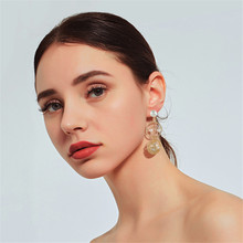CRLEY freshwater pearl drop earrings for women gold color metal nest irregular round dangle jewelry wedding female