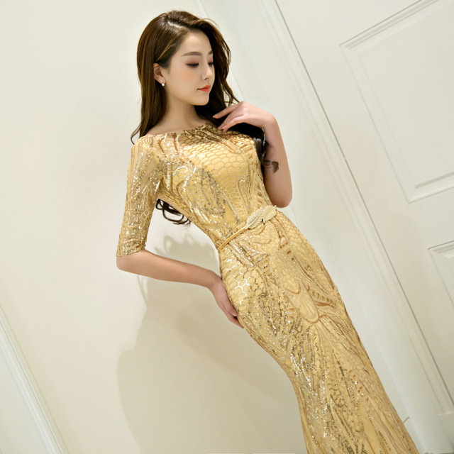 Online Shop Golden Mermaid half sleeve floor length sequines lady ...