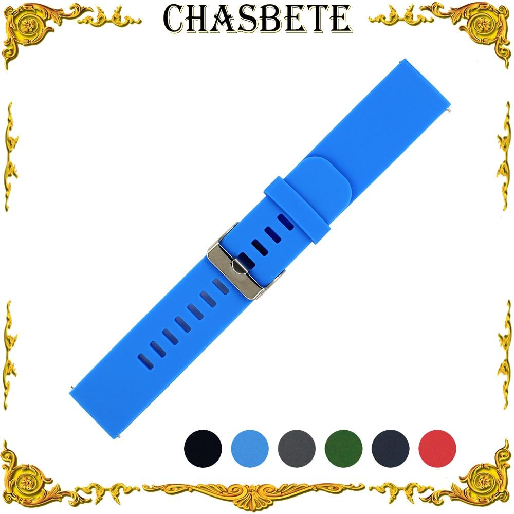 18mm 20mm 22mm Silicone Rubber Watch Band Universal Watchband Men Women Quick Release Resin Strap Wrist Loop Belt Bracelet Black цена