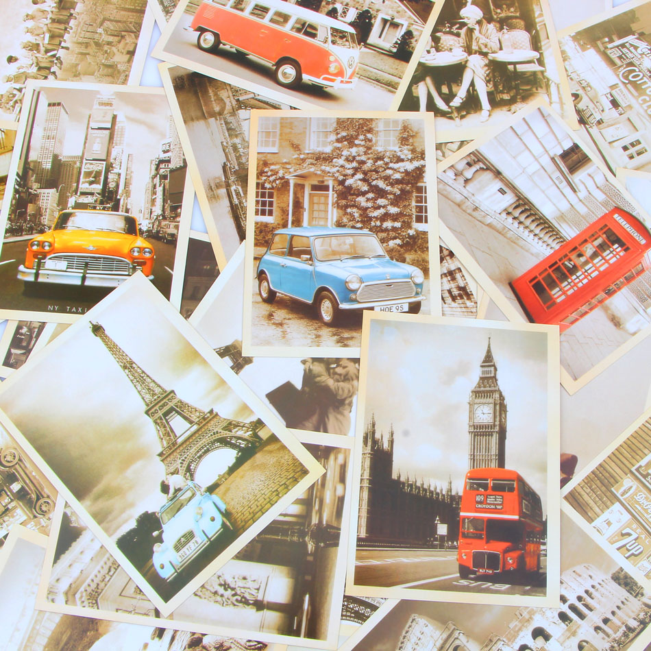 Famous Bookmarks Europe Building Vintage Style Postcard Cartoon PostCard Poster Drawing Greeting Postcards Set Gift
