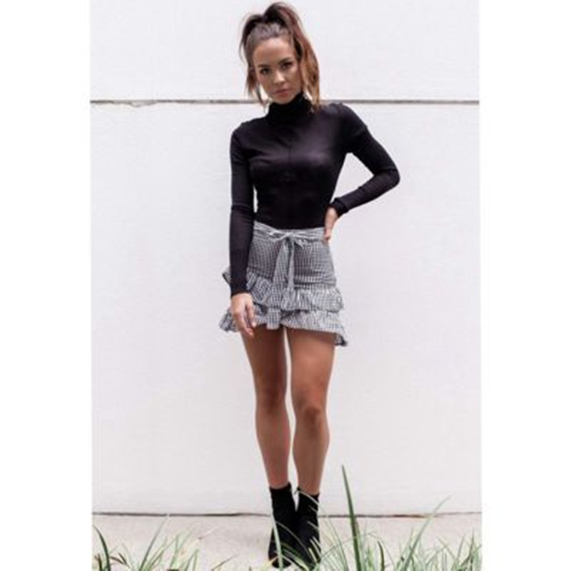 Sweet Women Mermaid Skirt Casual Plaid Empire Spring Autumn Mini Skirt