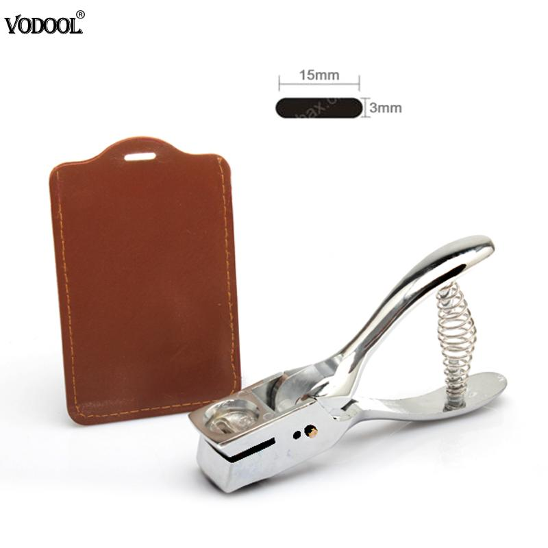 VODOOL Silver Leather Hole Puncher Plier Metal Hand Slot Puncher For ID Card Photo Badge Hole Punch Tag Tool Fastening Strap купить