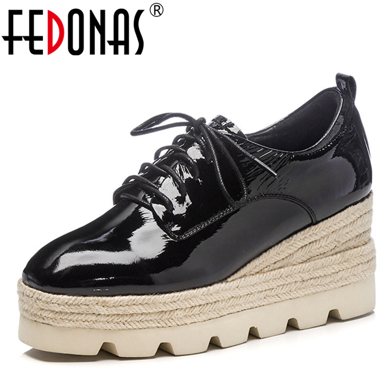 FEDONAS 1Fashion Women Basic Pumps Genuine Leather Spring Autumn Wedges High Heels Shoes Woman Round Toe Platforms Casual Shoes genuine leather shoes fashion2017 new autumn women wedges shoes high heel platforms for women casual shoes pumps elevator women