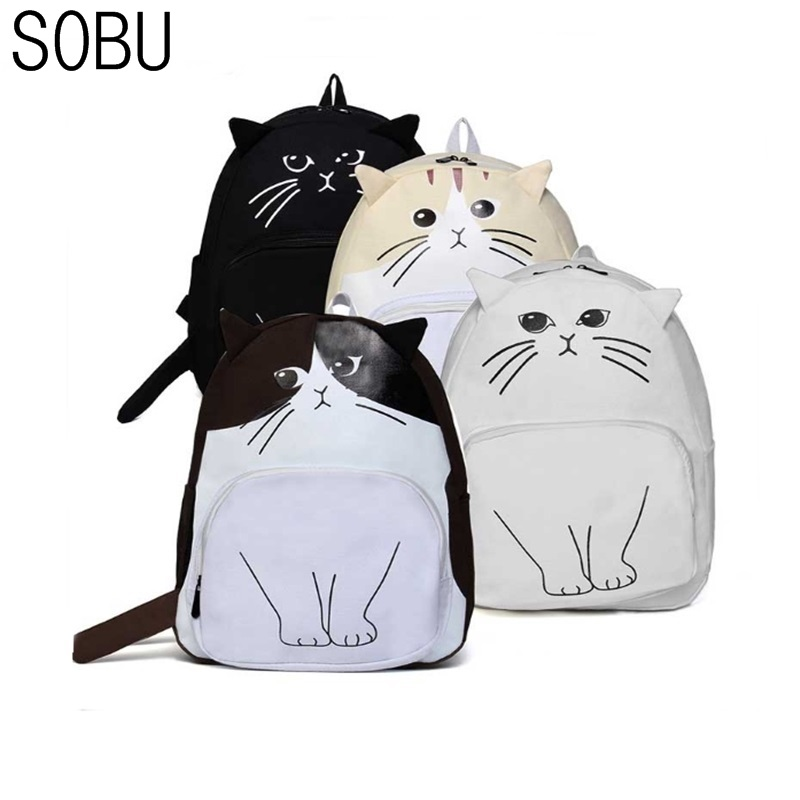 2017 new Vintage Cute Designer Cat Fox Ear Printing Canvas Women Backpack School Notebook Bag Girls Rucksack Travel Mochila H030 new brand 2015 women girls school bag rivets camouflage backpack cute canvas