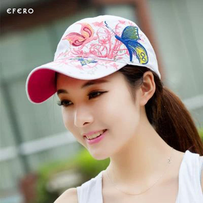 aa02c2c55a6 1Pcs Girls Lady Baseball Caps Butterflies And Flowers Embroidery Summer Caps  Hip Hop Baseball Hats Adjustable Snapbacks Caps