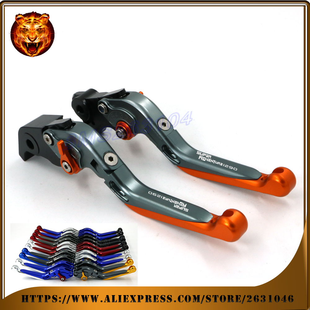 Adjustable Folding Extendable Brake Clutch Lever For KTM SUPER ADVENTURE 1290 2015 2016 WITH LOGO Free shipping Motorcycle