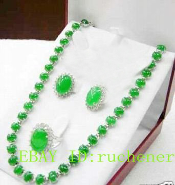 Hot sale hot Noblest green stone Necklace Ring Earring sets Natural jewelry