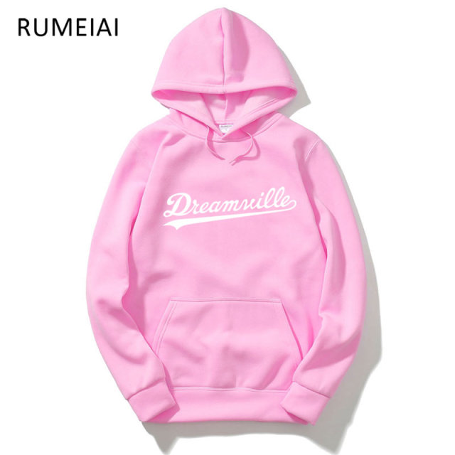 RUMEIAI 2017 Hoodies Men Hip Hop DREAMVILLE Records Hoodies Swag Letter Fleece Men's Hooded Sweatshirt