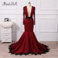 modabelle Women Black Burgundy Mermaid Prom Dresses 2018 Deep V Neck Backless Formal Long Sleeves Arabic Evening Gowns Lace