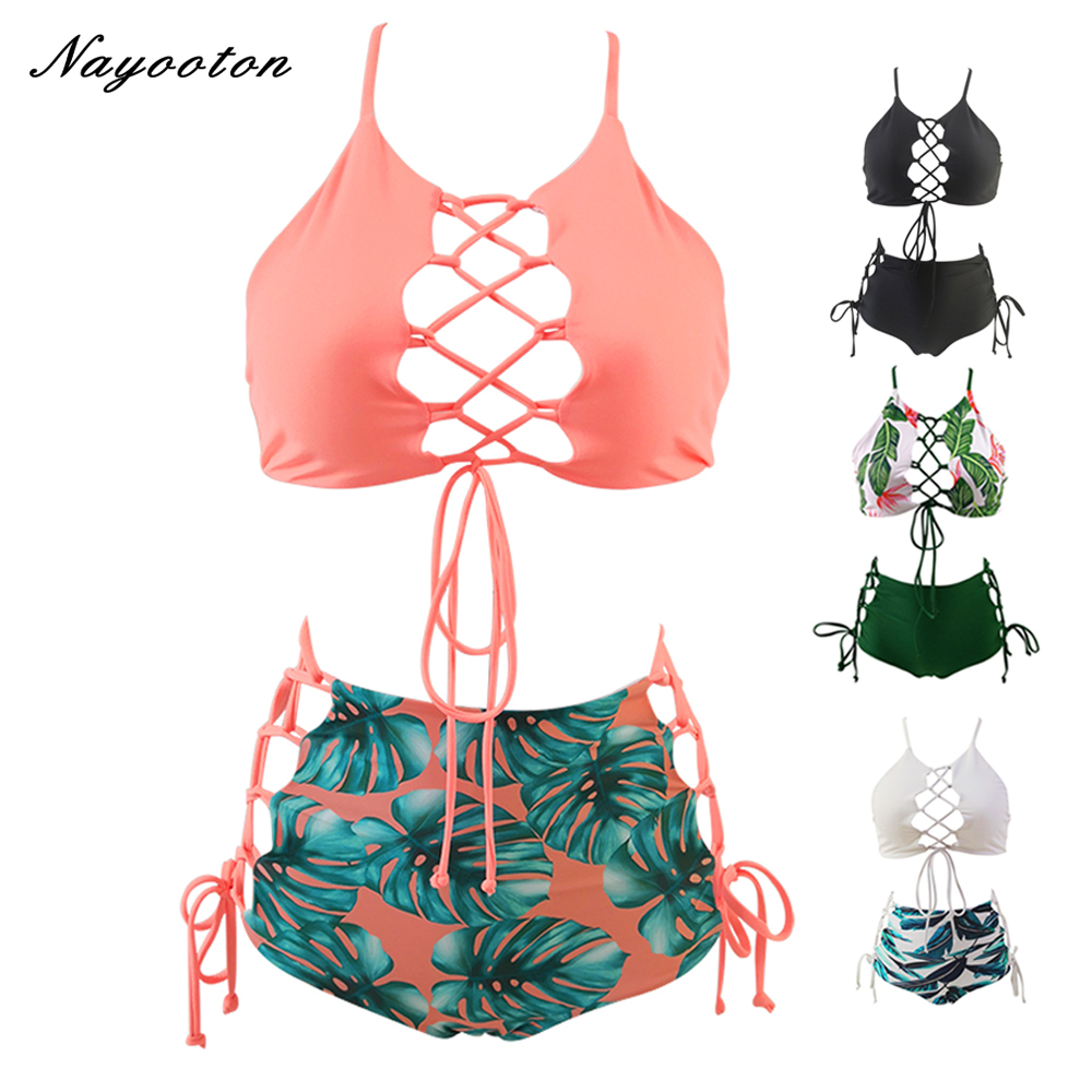 Plus Size  Bandeau Bikini 2019 Swimwear Women High Waist Swimsuit Two Pieces Brazilian Bikini Set  Swimming Bathing Suit S-3XL