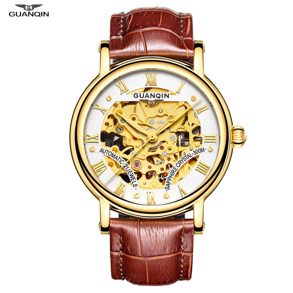 Top Brand GUANQIN Mechanical Watch Men Luxury Automatic Watch Leather Sapphire Tourbillon Hollow Wristwatch Skeleton Male Clock guanqin watch men sport mens watches top brand luxury tourbillon automatic mechanical watch luminous analog clock leather strap