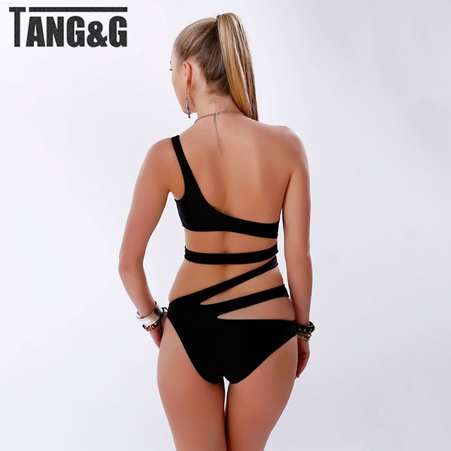 2015 New White One Piece Swimsuit Sexy Cut Out Bandage Swimwear Women Shoulder Strap Bathing suits Beach Wear Monokini T1002