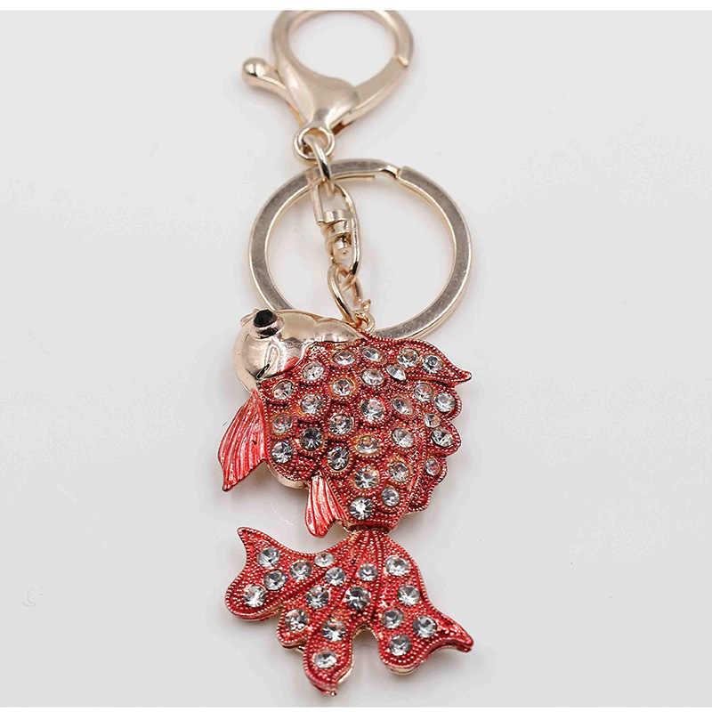 Брелок может быть деятельности маленькая золотая рыбка подарок милый брелок для ключей модели животных 7 цветов Кристалл полноцветный подарок брелок