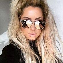 RunBird Barbe Pink Brand Cat Eye Flat Top Alloy Summer Vintage Women Designer Sunglasses Mens Coating