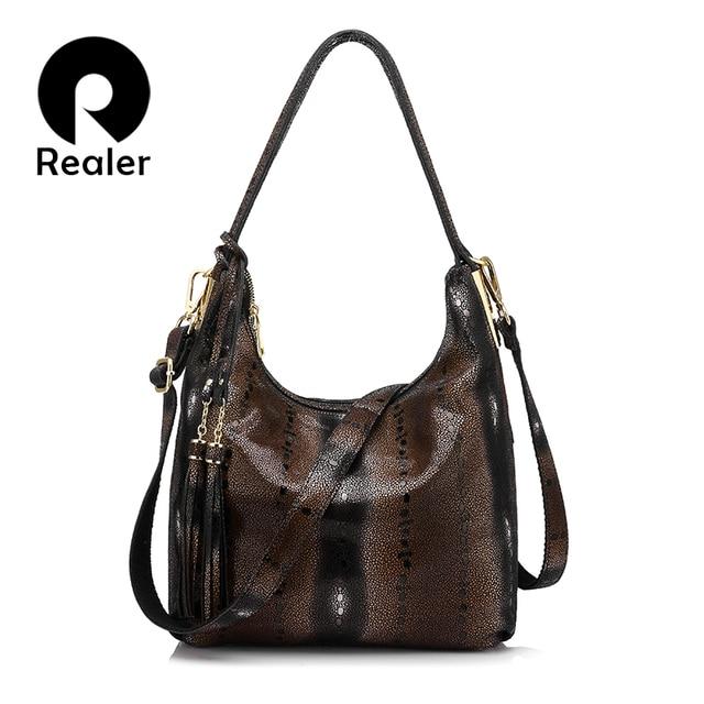 REALER brand genuine leather women shoulder bag female pearl fish pattern hobos bag ladies double zippershandbag with tassel