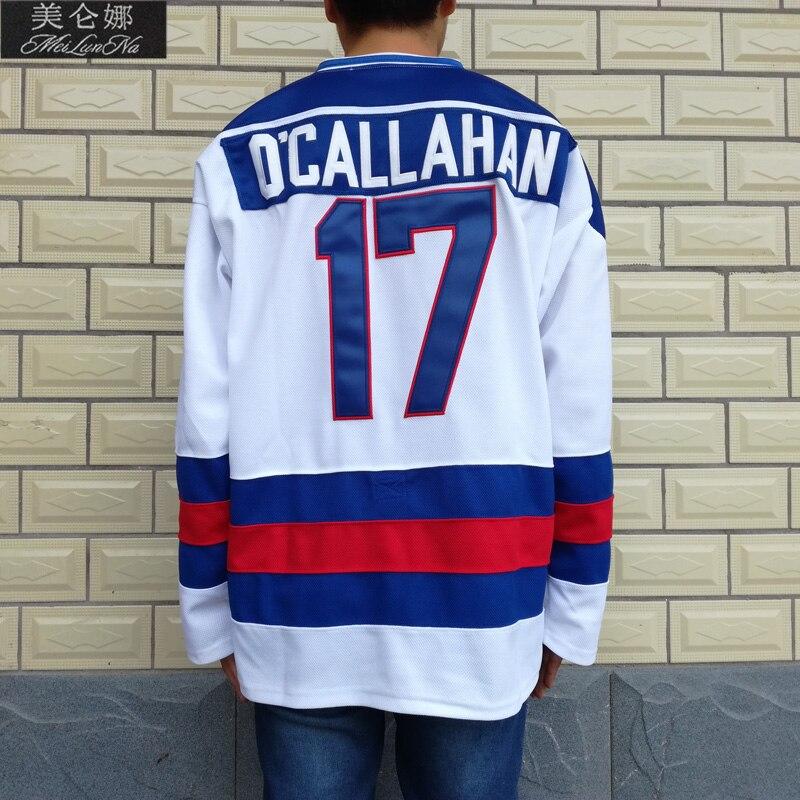 MeiLunNa Christmas Black Friday 1980 Miracle On Ice Team USA #17 Jack OCallahan White Hockey Jersey 1702