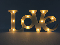 Customized 12 Wide White Red Plastic Love LED 3D Letters Illuminated Advertising Open Sign For Wedding