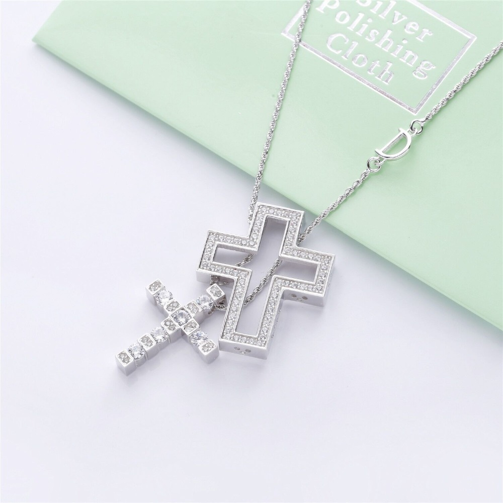 Image 4 - Slovecabin Hole Cross Double D Letter Chain Belle Epoque Zircon  Pendant Necklace Jewelry 100% 925 Sterling Silver Italy LuxulryChain  Necklaces