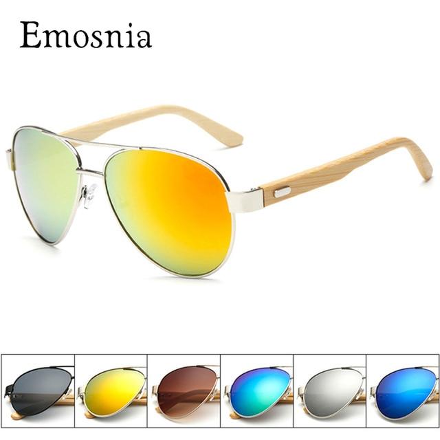 f53e2e677c456 Emosnia Flat Top Bamboo Piloto Óculos De Sol Dos Homens Do Vintage Designer  de Marca de ...
