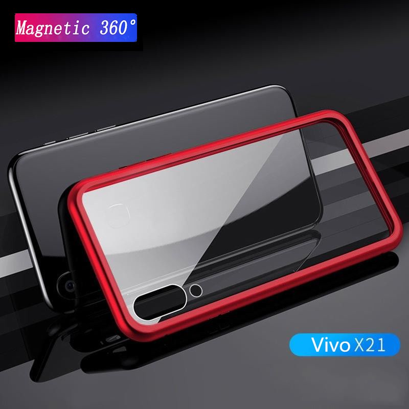 Magnetic Adsorption Case for Vivo X21 Clear Tempered Glass Back Cover+ Built-in Magnet Case for Vivo X21/X21UD Metal Ultra Cover