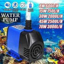 8W/15W/30W/45W/70W 600-3000L/H Silent Submersible Water Pump Filter Aquarium Fountain Air Fish Pond Tank Circulatiion Pump