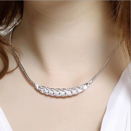 Free Shipping 2 Color Vintage Gold Silver Noble Wheat Ear Full Rhinestone Chunky Short Necklace for Women