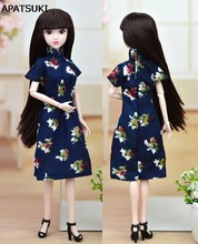 Handmade Doll Accessories Dress For Barbie Cheongsam Chinese Traditional Dress Vestido Flower Qipao Unique Evening Dresses(China)