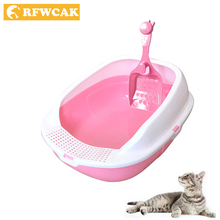 RFWCAK New Detachable Plastic Pet Litter Box Semi-closed Open Anti-Splash Reusable Cat Bedpans Toilet Cleaning Appliance