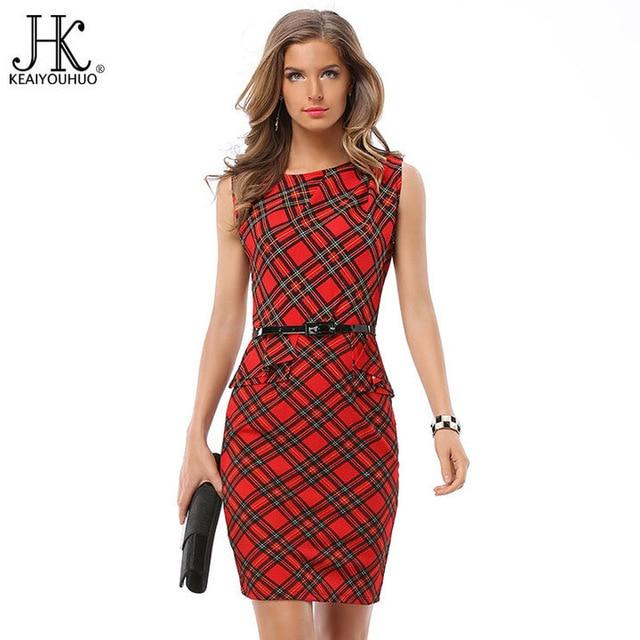 KEAIYOUHUO Europa stil tartan kleid ärmel bleistift kleider gürtel ...