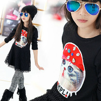 Spring Autumn Colorful Cat Printing Velvet Grid Put Elastic Dress Cotton Black Clothing Thin And Thick