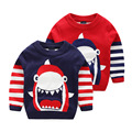 Boys sweater 2017 autumn and winter child double layer baby knitted sweaters boy cartoon shark pullover top