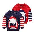 Niños suéter 2017 otoño y el invierno niño bebé de la capa doble de punto suéteres boy cartoon shark suéter superior