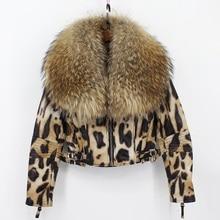 women 100% genuine sheepskin leather jacket with big raccoon fur collar 2018 new arrival luxury fashion short coat femme leopard
