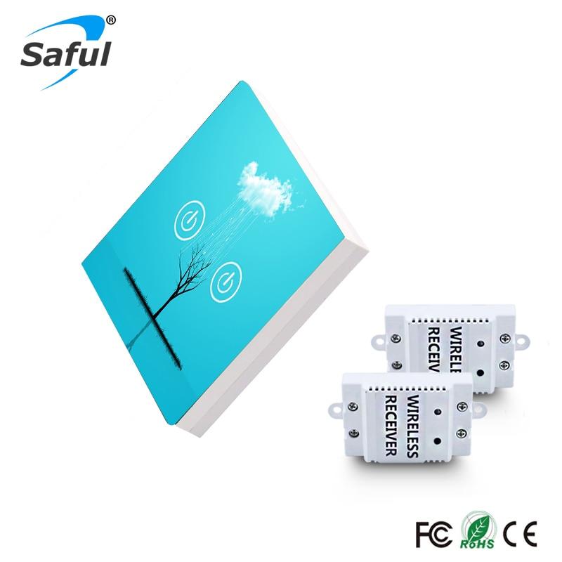 Saful Sans Fil Tactile Commutateurs 150 M À Distance 50/60Hz Trempé Cristal panneaux de verre 2 Gang 2 Façon mur led interrupteur