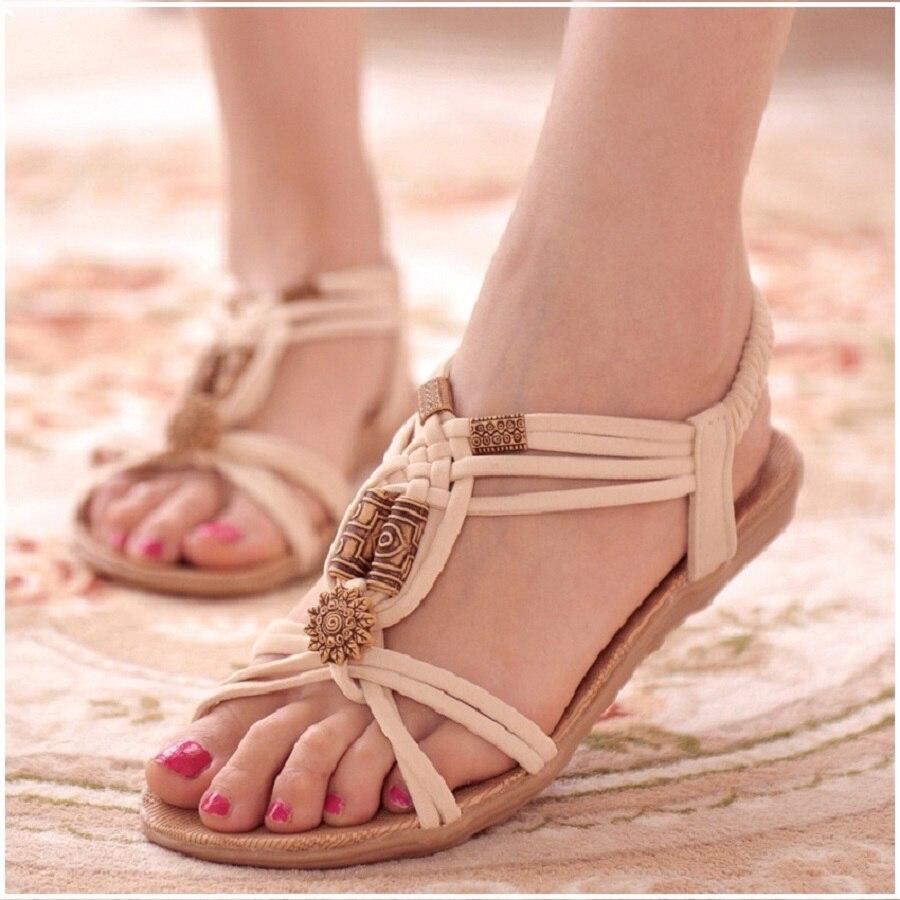 Mujeres Sandalias gladiador verano Zapatos mujer Flip Flops moda playa señoras Zapatos mujeres Zapatos más tamaño 36-42