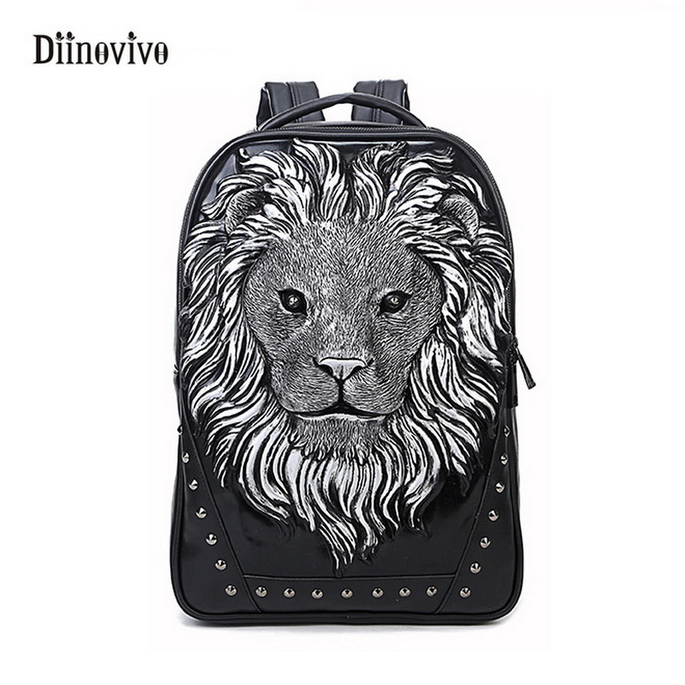 DIINOVIVO New Fashion Rock Style 3D Lion Backpack Personality Youth Punk School Bags Large Capacity Design