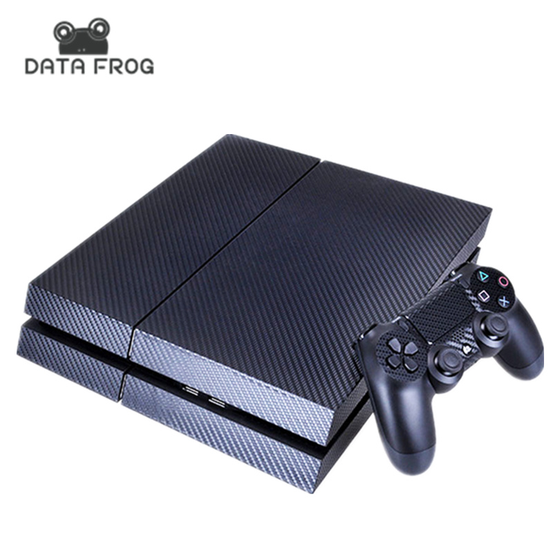 DATA FROG Svart Carbon Fiber Skin Sticker för Sony PS4 PlayStation 4 & 2 Controller Skins Joystick Carbon Fiber 3D Texture