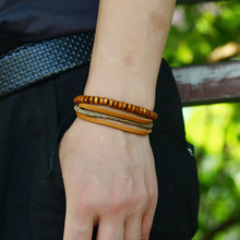 Wood Beads Charm Handmade Woven Men Leather Bracelets Women Vintage Bangle Male Homme Jewelry Accessories
