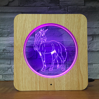 Unicorn 3D LED Wooden Grain Night Light DIY Customized Lamp Table Lamp Friends Birthday Colors Gift Home Decor Fast DropShipping