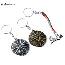 Meetcute God of War 4 Leviathan Key Chain Metal Keyrings Kratos Guardian Shield Ice Axe llaveros Car Keychain Game Jewelry(China)