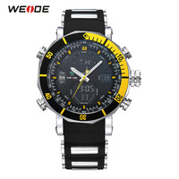 2018 Fashion WEIDE Sport Watch Men Yellow Digital Quartz Watch PU Rubber Band Alarm LED Dual Time Wristwatch Relogios Masculinos