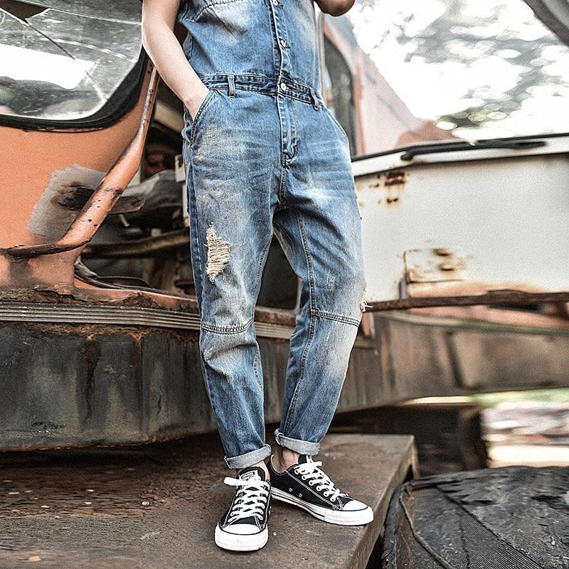 Style Mode Pantalon Barboteuses Cowboy Bleu Longueur Japon Pour Denim Hommes Cheville Adolescent Jeans Effilochée Vintage Skinny Blue Salopette AwfdqxdX