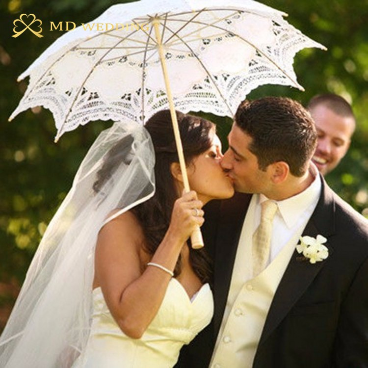 New Lace Umbrella Cotton Embroidery White/Ivory Battenburg Lace Parasol Umbrella Wedding Umbrella Decorations Free Shipping 45