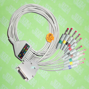 Compatible with Mortara Instrument ELI100,ELI200 EKG 10 lead,One-piece ECG cable and leadwires,15PIN,4.0 red Banana,IEC or AHA. image