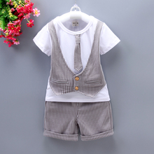 DIIMUU 2PC Baby Little Boy Clothing Party Suits Kids Toddler Boys Clothes T-Shirt + Pants Wedding Outfits Sets